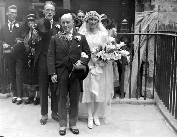 Wedding of Mr Clifford Morgan and Miss Mulreardy at the Temple Church, London.  3 September 1927