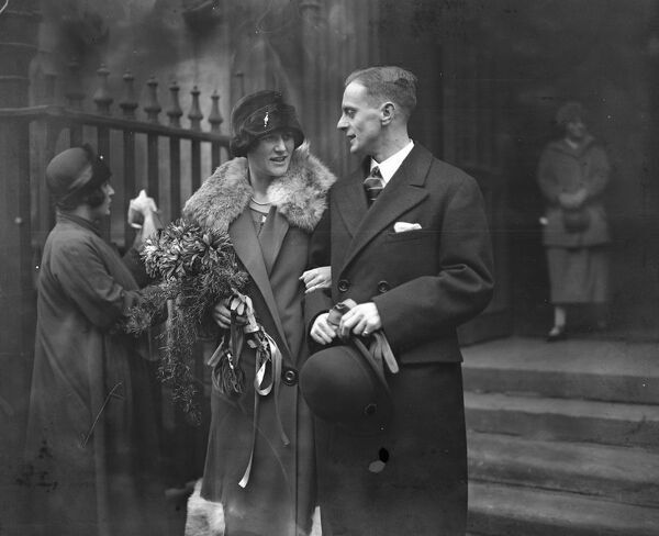 Wedding of Mr F Edward Bullmore and Miss Adeline Roscow at St Dunstan 's in the West, Fleet Street   23rd December 1925