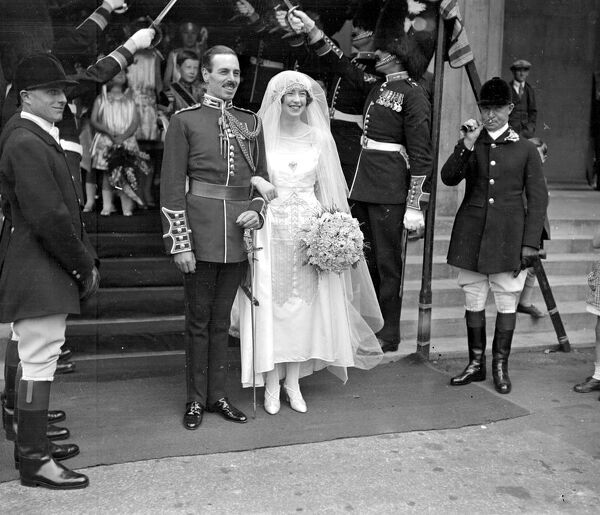 Wedding of Sir Alexander Stanier, Welsh Guards and Miss Dorothy Miller (daughter of Gen and Mrs Miller, Shotover Park) at the Guards Chapel, Wellington Barracks, London.  J. Wardle (Huntsman of S. Oxforshire Hunt, Right Adams)  21 July 1927
