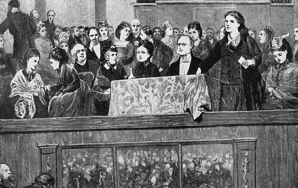Womens suffrage: Meeting in Hanover Square Rooms about 1870; Rhoda Garrett speaking; Mrs Mark Pattison talking to Mrs Fawcett; Mrs Becker is in the centre