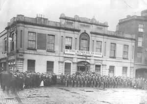 1916 Easter Rebellion in Eire. Irish citizen army parade at Liberty hall, Dublin