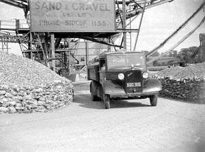 3 ton Bedford truck leaving the Sand & Gravel Co Ltd, gray gravel pit in Sidcup, Kent
