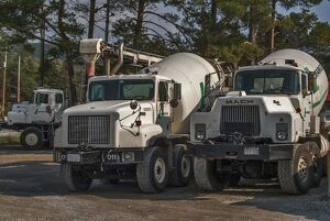 3 x cement mixers parked up on waste ground on Manitoulin Island Ontario Canada