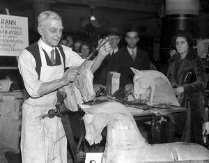 (74 Hillfield Avenue, N.8) Mr Rann, for 50 years a maker of wooden horses, demonstrates