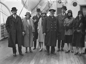 Aboard the Blue Star Liner ' Almeda ' at Tilbury. On left, Lord and Lady Askwith