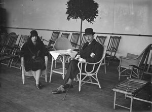 Aboard the Blue Star Liner ' Almeda ', Tilbury. Lady Evelyn Graham and Captain