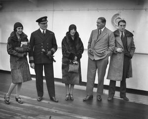 Aboard the SS Avila at Tilbury docks. Left to right, Lady Pamela Smith, Captain