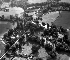 Aerial view of Chiddingstone Village and Chiddingstone Castle, Hever, Kent, England 15