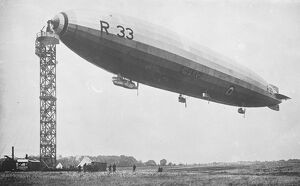 The Airship R 33 at Her Mooring Mast 1921