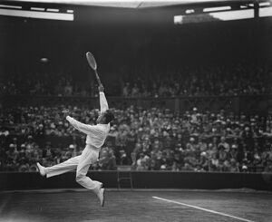 All French final at Wimbledon. Henri Cochet in play against Ren? Lacoste. 6