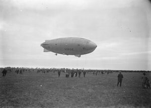 Amundsen 's airship ' Norge ' arrives at Pulham. The ' Norge ' in flight