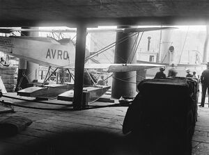 The Antarctic Avro. The Avro Antarctic aeroplane, which is to be taken on the