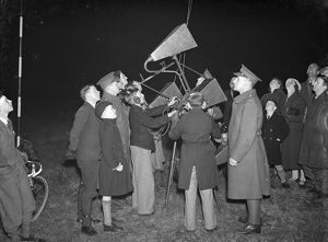 Anti aircraft display in Dartford, Kent. An aircraft sound locator device demonstration