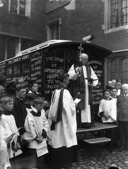 The Archbishop of Canterbury dedicates a motor mission van at Lambeth Palace for