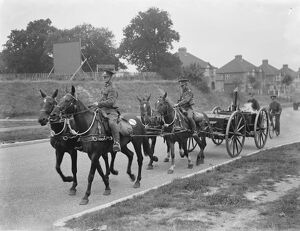 Army manoeuvers in Orpingon, Kent. Horse drawn army stoves. 1936
