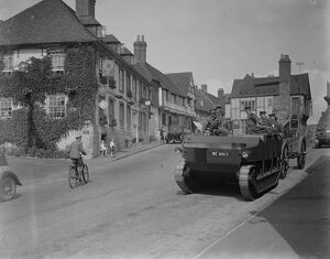 The army manoeuvres. Mechanised heavy artillery passing through picturesque Midhurst