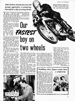 Article in Illustrated Magazine about young motorcycle champion, John Surtees