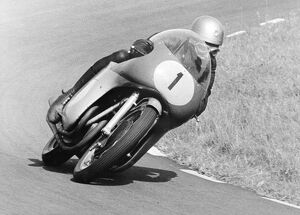 Assen, Holland: Rhodesian Motor-cycling ace, Gary Hocking taking an hairpin bend during the Dutch T