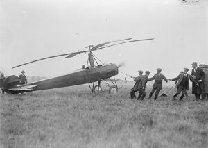 The autogiro demonstrated at Farnborough. Starting the machine. 19 October 1925