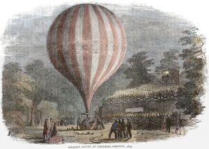 Balloon ascent at Vauxhall Gardens 1849 History of London - Vauxhall / Lambeth