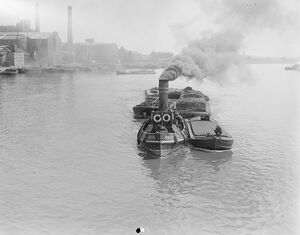 1920s/ocean/barging coal shortage tug maud clearly coal
