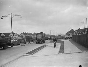 Barking bypass widening. Looking east, showing the new roundabout. 28 May 1938
