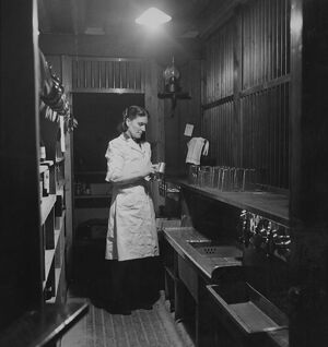 A barmaid cleaning a beer tankard in the Globe Tavern. A state owned pub in Longtown