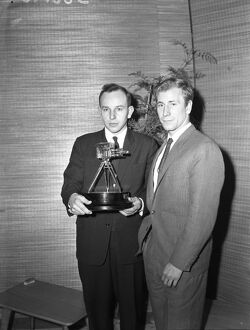BBC Sportsman of the Year John Surtees poses with Runner Up Bobby Charlton 17 December
