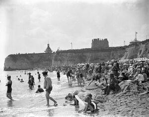 The beach at Ramsgate, Kent, crowded with holiday makers. 6 July 1928