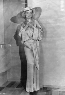 Beige satin in Russian style for the beach. 15 March 1932
