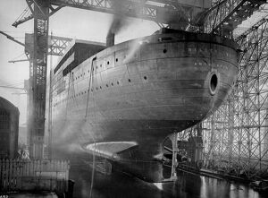 Belgian Navy. The stern view of the new giant ship, Belgenland, before her launch