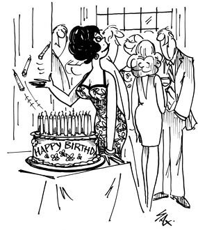 Birthday card for a woman, throwing out a few candles to reduce her age! Cartoon