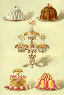 Blanc Mange Fruit Jelly Epergne Christmas Pudding Jelly in Two Colours