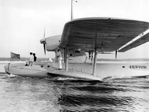 Blazing air mail route across Atlantic Lufthansa Dornier flying boat Zephir resting