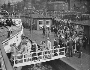 Boarding ' Eagle ' steamers at Tower pier, the first run of the season 30 May 1925