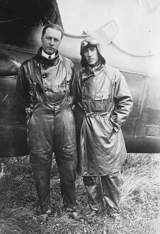 Brothers in a long non stop flight. The brothers Arrachart left Le Bourget aerodrome