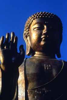 Buddhism The largest cast metal statue of Buddha in the world in Lantau Island at