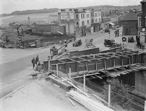 Building work on the widening of the Swanley Bridge in Kent. <br> 1938