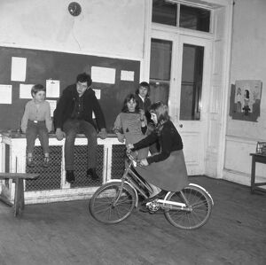 Burgess Hill, Sussex, England : Cycling in a classroom - one of the ' progressive
