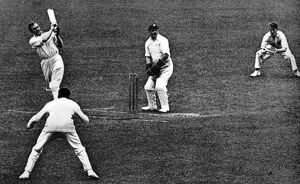 Captain Charles Burgess Fry pulls the ball to leg in a match aginst Yorkshire