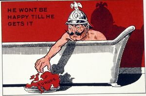 Cartoon of Kaiser Bill in the Bath Tub with the caption 'He Wont be Happy Till He