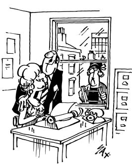 Cartoon by Sax The husband is caught out chatting up his secretary Usually paying