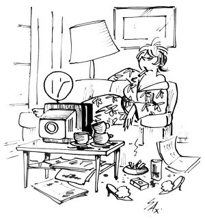Cartoon by Sax Woman being a TV slob Usually paying little or no attention to political