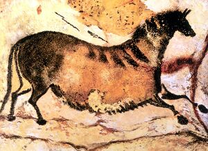 Cave Art - Lascaux - Prehistoric cave painting of running horse, from the cave system