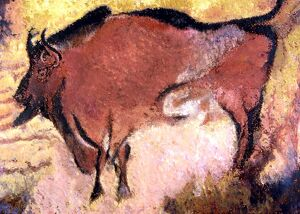 CAVE ART. Prehistoric painting of Bison on the walls of Lascaux cave