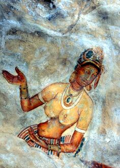 CAVE PAINTINGS Fresco painting of a cloud maiden in the cave beneath the ancient