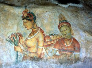 CAVE PAINTINGS Fresco painting of two women (cloud maidens) in the cave beneath the