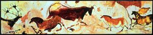 CAVE PAINTINGS Reconstruction of the prehistoric paintings of animals of one of the