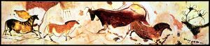CAVE PAINTINGS Reconstruction of the prehistoric paintings of animals on one of the