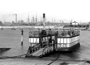 Chain ferry with Milkman and Milk cart, onboard the Walney Ferry, Barrow in Furness